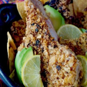Tortilla Chip Crusted Pork Chops with Avocado Sauce