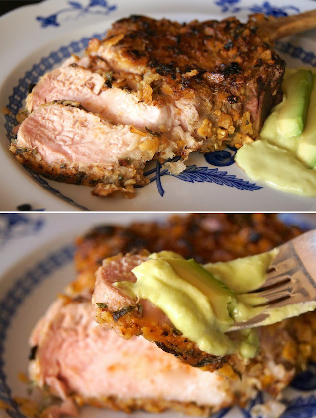 2 images - one of sliced tortilla chip cursted pork chop, and one with a bite of the pork on a fork with avocado sauce.
