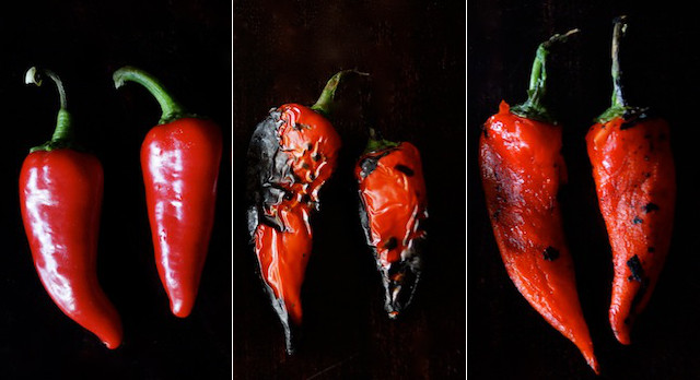 red peppers in three stages: raw, roasted, roasted and peeled.