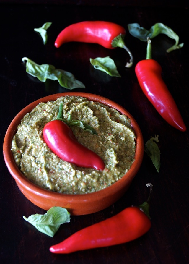 Fresno Pepper Pesto in a terra cotta bowl.