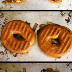 Cheddar Grilled Cheese Bagel Breakfast Recipe with Serrano-Bacon Caramelized Onions and Egg