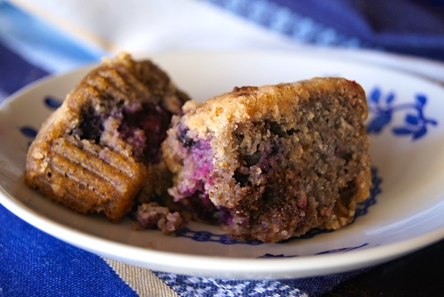 Blue Corn Blueberry Chocolate Muffins