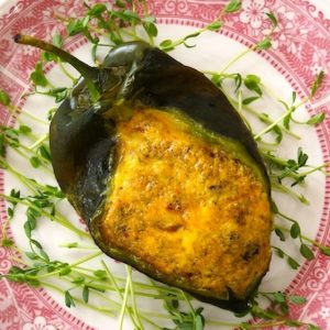 roasted poblano pepper filled with egg