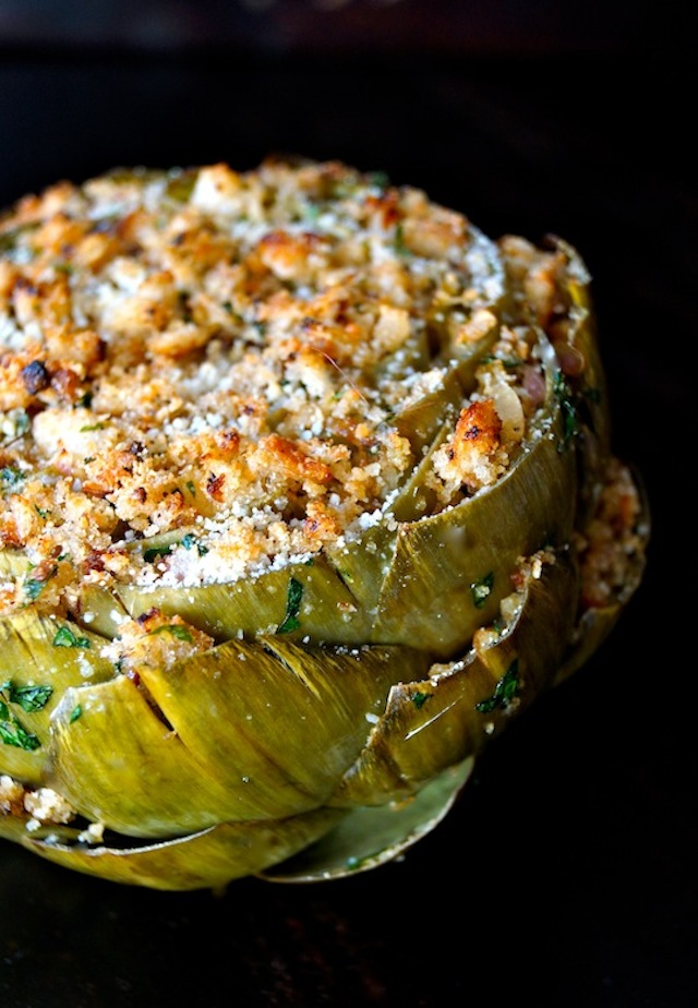 The Ultimate Stuffed Artichoke - beautiful green artichoke with golden breadcrumbs and herbs