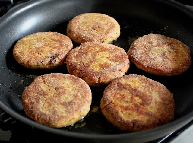 cooked veggie burgers in skillet