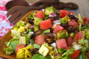 ]Balsamic Glazed Watermelon-Avocado Chopped Salad Recipe | cookingontheweekends.com