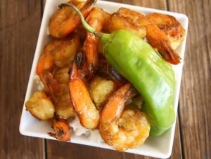 Hatch Chile Shrimp Sauté with Coconut Rice   cookingontheweekends.com