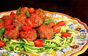 Zucchini Summer Spaghetti and Pesto Meatballs