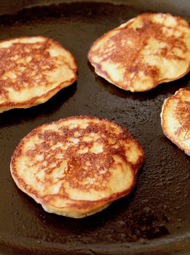 cooked pancakes on saute pan