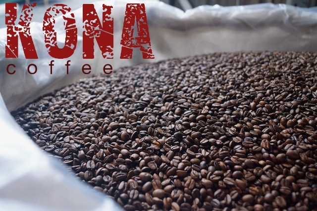 Kona Coffee beans in white bag