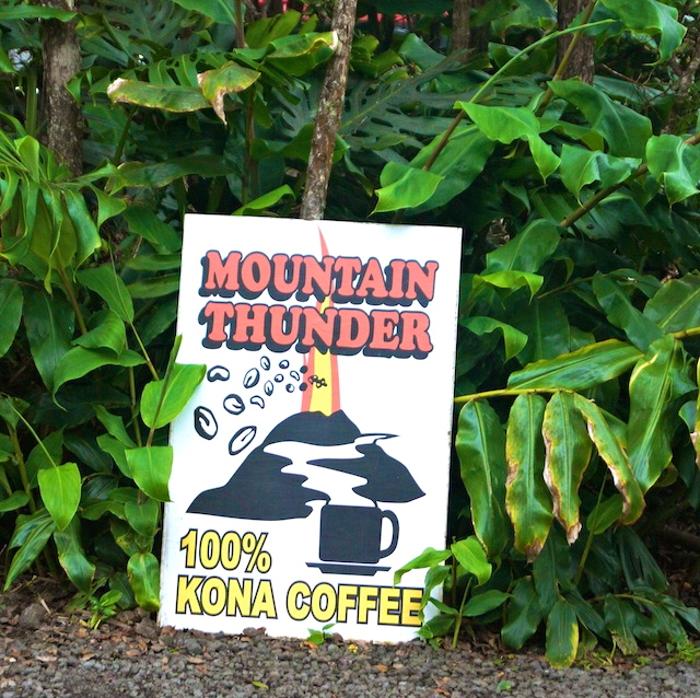 Mountain Thunder Kona Coffee sign by a tree