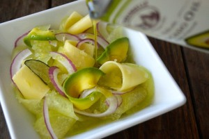Shaved Avocado-Melon Salad Melon | cookingontheweekends.com