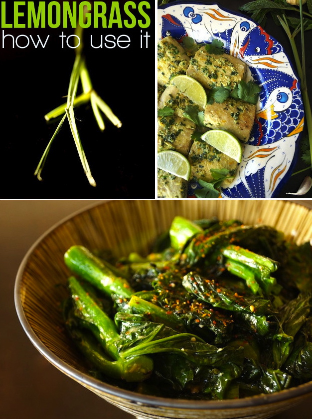 images of lemongrass, gai lan and fish on a blue and white plate