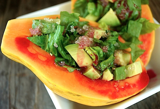 Papaya Avocado Salad with Cactus Pear Lemon Vinaigrette | cookingontheweekends.com