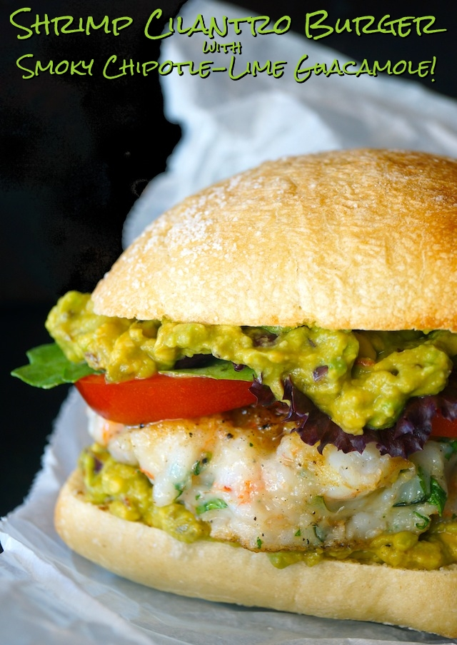 Shrimp Cilantro Burgers with Smoky Chipotle Lime Guacamole3