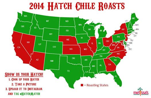 map of the 2014 Hatch Chile Roastings.