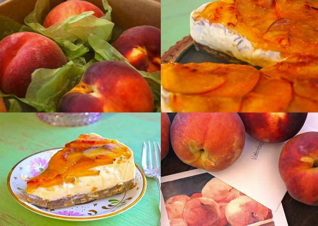 Grid of 4 images - fresh peaches, peach cobbler cake with a slice removed and a slice on a floral-patterned plate.