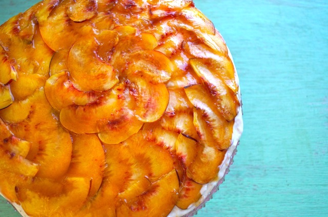 Peach Cobbler Cream Cake Recipe with Gluten-Free Almond Cookie Crust ...