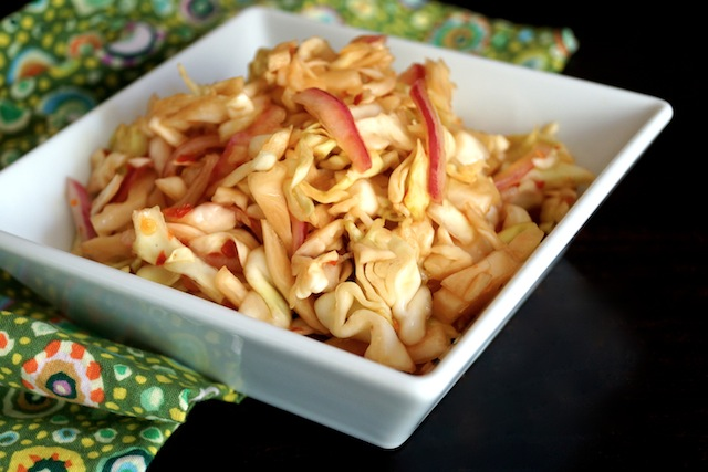 Quick Spicy Pickled Cabbage in a white square dish