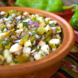 Roasted Hatch Chile-Peach Salsa and Double Cookbook Giveaway | cookingontheweekends.com