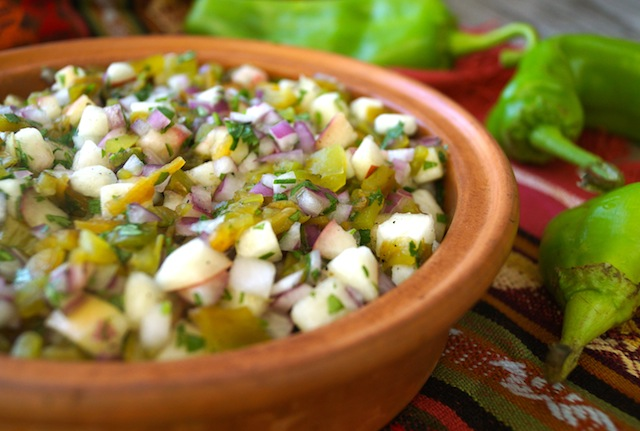 Roasted Hatch Chile-White Peach Salsa