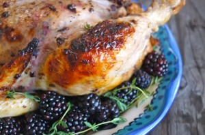 Blackberry-Thyme Butter Roasted Chicken | cookingontheweekends.com