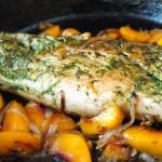 Cilantro Chimichurri Peach Roasted Pork Tenderloin | cookingontheweekends.com
