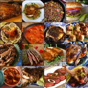 photo grid of 16 most amazing meat recipes