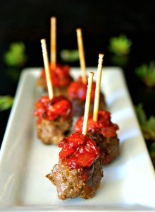 Smoky Strawberry-Chipotle Compote Bacon-Meatballs