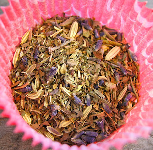 pink cup of herbs de provence