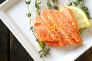 "Olive Oil-Thyme Poached Salmon Recipe and Introducing the ""Two Extra Virgins"" and the Arianna Trading Company"
