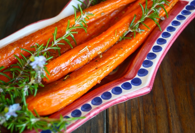 Herbs de Provence Roasted Carrots with fresh sprigs of rosemary.