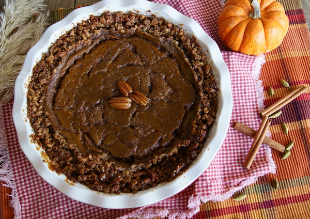 Salted Spiced Caramel Pumpkin Pie With Pecan Crust