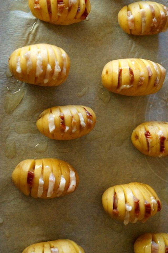 Hasselback Baby Bacon Basil Dutch Yellow Potatoes