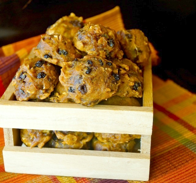 Spiced Pumpkin Chocolate Oatmeal Cookies in a small wooden crate.