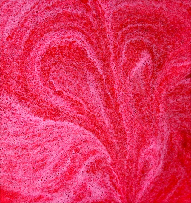 bright magenta prickly cactus pear juice swriled into a heart shape