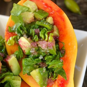 Papaya-Avocado Salad with Cactus Pear-Lemon Vinaigrette
