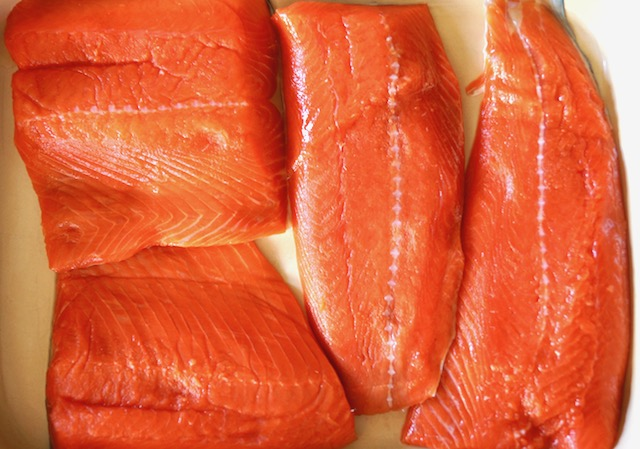 salmon fillets in baking pan