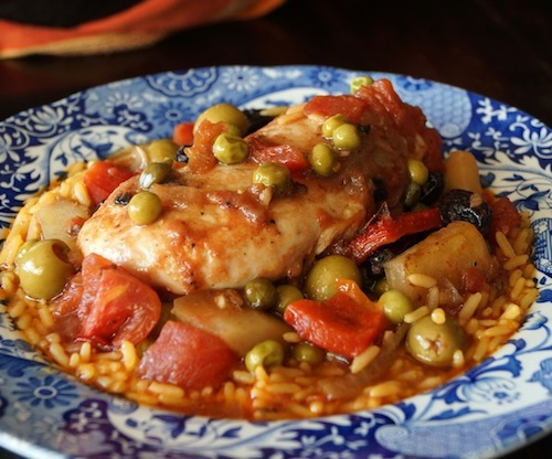 What is a comfort food? This is one, Cuban-Style Chicken Stew in pretty blue bowl