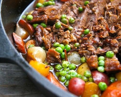 Braised Brisket Stew in cast iron skillet