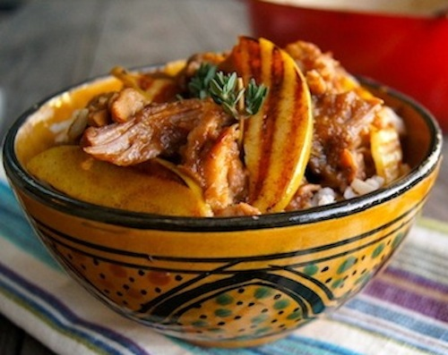 What is a comfort food? This is one, apple pork stew in gold ceramic bowl