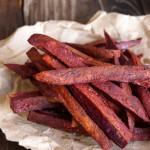 Chile-Lemon Roasted Purple Sweet Potato Fries | cookingontheweekends.com
