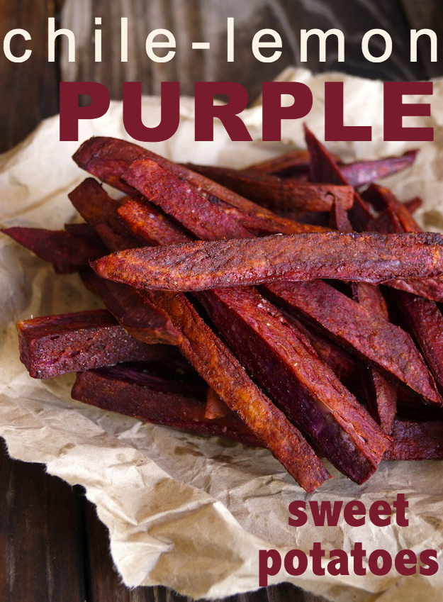 Chile-Lemon Roasted Purple Sweet Potato Fries in a pile on parchment paper