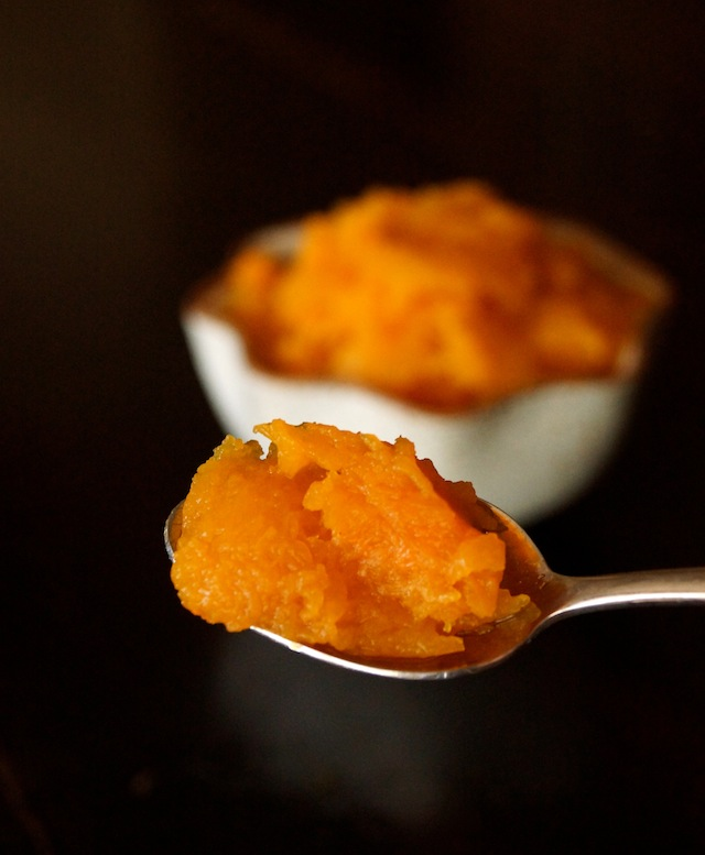 roasted butternut squash on a spoon