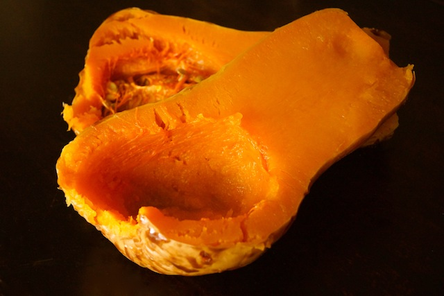 two halves roasted butternut squash, seeds removed
