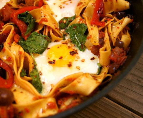 What is a comfort food? This is one, Sardinian Pasta with eggs in cast iron skillet