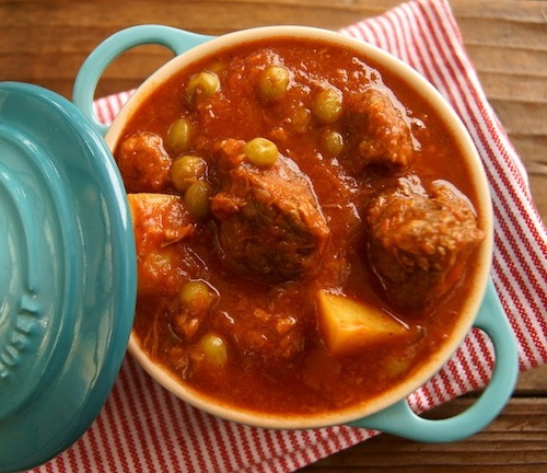 Curried Tomato Beef Stew in tiny light blue Le Creuset Dutch oven