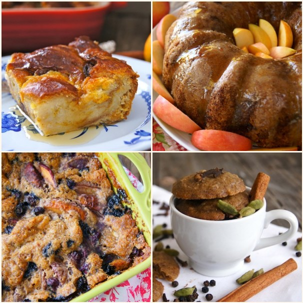 4 photo grid of chai recipes-bread pudding, cake, crumble and cookies.