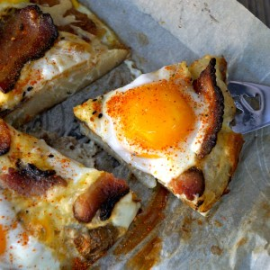 Smashed Potato Egg Pizza with Bacon