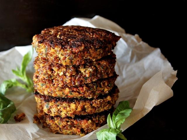 Crispy Red Quinoa-Almond Tomato Burger
